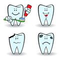 Set of four cartoon teeth