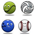 Set of four cartoonl sports balls cartoon including a tennis ball volley ball cricket ball and bowls with smiling happy faces Royalty Free Stock Photo