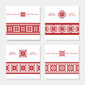 Set of four Christmas postcards with geometric ornament Royalty Free Stock Photo