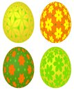 Set of four colored easter eggs with vivid floral pattern decorative different beautiful patterns isolated on the white background Royalty Free Stock Photography