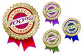 Set of Four Colorful 100% Product Guarantee Emblem Royalty Free Stock Photos