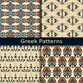 Set of four colorful ancient greek pattern designs