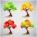 Set of four colorful geometric trees icons summer and autumn Stock Image