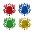 Set of four colorful shields Royalty Free Stock Photos
