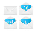 Set four communication envelope icons Royalty Free Stock Photos