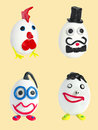 Set of four crafts from eggs and plasticine Stock Images
