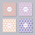 Set of four creative covers with abstract geometric pattern of hexagons.