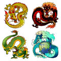 Set four cunning Asian color dragon Royalty Free Stock Photo