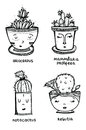 Set of four cute illustrations cactus in pot with faces. Design elements for cards, invitations or a stickers.