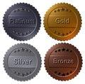 Set of 4 medals Paltinum, Gold, Silver, Bronze