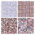 Set of four decorative retro seamless patterns Royalty Free Stock Photo