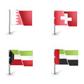 Set of four different flags isolated on white background Royalty Free Stock Images