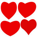 Set of four different hearts Stock Images