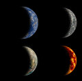 Set of four different planets. Royalty Free Stock Photo