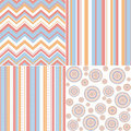 Set of four different seamless pattern retro Royalty Free Stock Photos