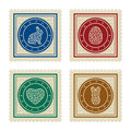 Set of four easter postmarks Royalty Free Stock Photo