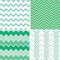 Set of four emerald green chevron patterns and vector backgrounds Royalty Free Stock Photo