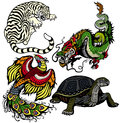 Set of four feng shui celestial animals white tiger green dragon red phoenix and black turtle isolated on white background Stock Photo