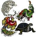 Set of four feng shui celestial animals