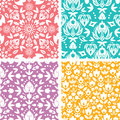 Set of four floral abstract seamless pattern vector background with elements Stock Images