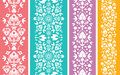 Set of four floral abstract vertical seamless vector pattern background ornament with elements Royalty Free Stock Photos