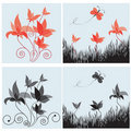 Set of four floral design elements Stock Images
