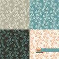 Set of four floral retro seamless patterns Royalty Free Stock Photo