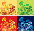 Set of four floral seasonal backgrounds  Stock Photography
