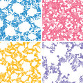 Set of four floral silhouettes seamless patterns vector backgrounds with abstract elements Stock Photo