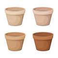 Set of four flowerpots clay isolated on white Stock Images