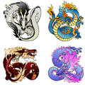Set four flying Asian colorfull dragon Royalty Free Stock Photo
