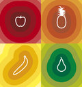 Set four fruit themed designs Royalty Free Stock Image