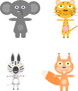 Set of four funny animals, elephant, Zebra, squirrel, leopard,  on white background Royalty Free Stock Photo