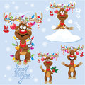 Set of four funny rein deers with christmas lights tangled in antlers cartoons different emotions for new year or Royalty Free Stock Image