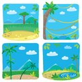 Set of four funny simple nature background square with palm and bamboo small lake and lians trees sky and sand children vector Stock Photos