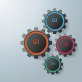 Set of four gears illustrated on gray background info graphic Royalty Free Stock Image