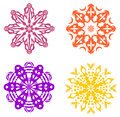 Set of four geometric ornaments in warm colors Stock Photography