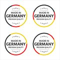 Set of four German icons, English title Made in Germany, premium quality stickers and symbols