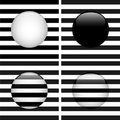 Set of Four Glass Circle Black and White Stripes Stock Images