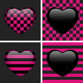 Set of Four Glossy Emo Hearts. Stock Images