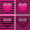 Set of Four Glossy Emo Hearts. Royalty Free Stock Image
