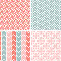 Set of four gray pink geometric patterns and vector backgrounds Royalty Free Stock Photos