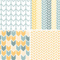 Set of four gray yellow chevron patterns and vector backgrounds Stock Images