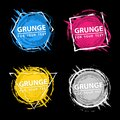 Set of four grunge splash banners. Vector splatter labels with space for text. Grunge label with geometric figures Royalty Free Stock Photo