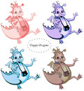 Set of four happy dragons Royalty Free Stock Photo