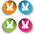 Set of Four Happy Easter Bunny Stickers Royalty Free Stock Photo