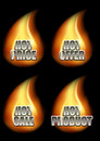 Set of four hot eshop messages in flame decorative font on black background included price offer sale and Royalty Free Stock Photos