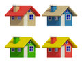 Set of four houses with color changes art Royalty Free Stock Images