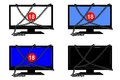 Set of four images with chained tv on and off and number Royalty Free Stock Images