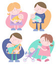 Set four individual cute characters mother holding baby father holding baby woman pushing stroller man baby sling Royalty Free Stock Image